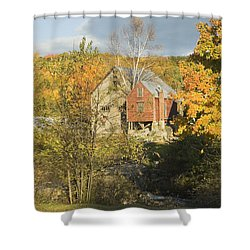 Old Buildings And Fall Colors In Vienna Maine Shower Curtain by Keith Webber Jr