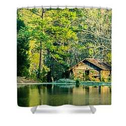 Old Cabin By The Pond Shower Curtain