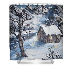 Shower Curtain featuring the painting Old Cabin by Megan Walsh