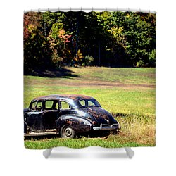Old Car In A Meadow Shower Curtain