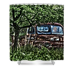 Old Car With Ghost Driver Shower Curtain by Dan Friend