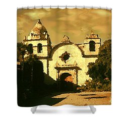 Old Carmel Mission - Watercolor Shower Curtain