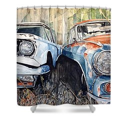 Old Cars Shower Curtain by Lance Wurst