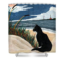 Old Cat And The Sea Shower Curtain by Edward Fuller