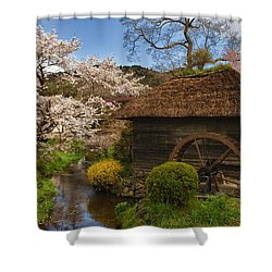 Old Cherry Blossom Water Mill Shower Curtain by Sebastian Musial