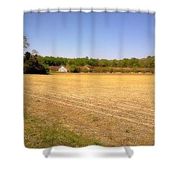 Old Chicken House On A Farm Field Shower Curtain