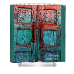 Shower Curtain featuring the photograph Old Church Door Handles 1 by Becky Lupe