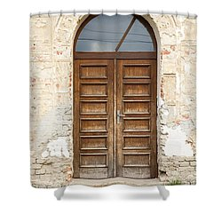 Shower Curtain featuring the photograph Old Church Door by Les Palenik