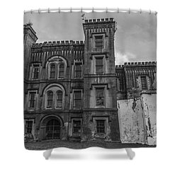Old City Jail In Black And White Shower Curtain