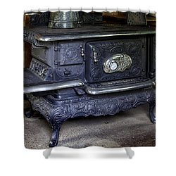 Old Clarion Wood Burning Stove Shower Curtain by Lynn Palmer
