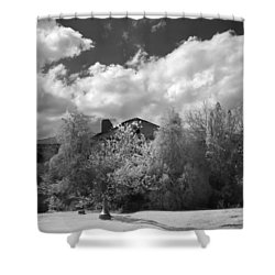 Shower Curtain featuring the photograph Old Coast Guard Barracks On Winter Island by Jeff Folger
