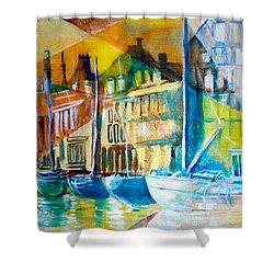Shower Curtain featuring the painting Old Copenhagen Thru Stained Glass by Seth Weaver