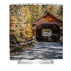 Old Covered Bridge Vermont Shower Curtain by Edward Fielding