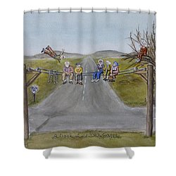 Shower Curtain featuring the painting Old Crowknees Fly South by Kelly Mills