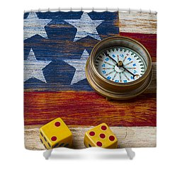 Old Dice And Compass Shower Curtain by Garry Gay
