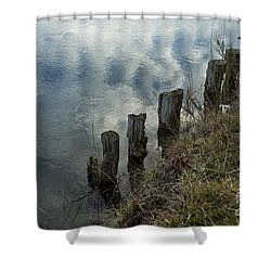 Old Dock Supports Along The Canal Bank - No 1 Shower Curtain by Belinda Greb