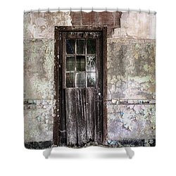 Old Door - Abandoned Building - Tea Shower Curtain by Gary Heller