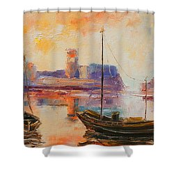 Old Dunbar Harbour Shower Curtain