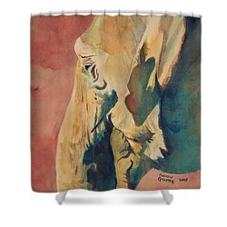 Shower Curtain featuring the painting Old Elephant by Andrew Gillette