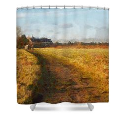 Old English Landscape Shower Curtain by Pixel Chimp