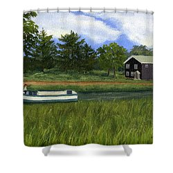 Shower Curtain featuring the painting Old Erie by Lynne Reichhart