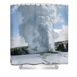 Old Faithful In Her Glory - Yellowstone Shower Curtain by Sandra Bronstein