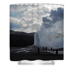 Old Faithful Morning Shower Curtain by Michele Myers