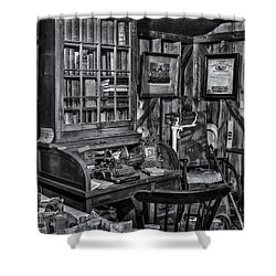 Old Fashioned Doctor's Office Bw Shower Curtain by Susan Candelario