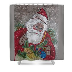 Old Fashioned Santa Shower Curtain by Kathy Marrs Chandler