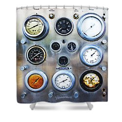 Old Fire Truck Gauge Panel Shower Curtain
