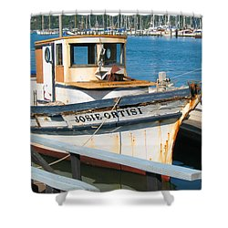 Old Fishing Boat In Sausalito Shower Curtain by Connie Fox