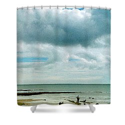 Old Friends Share A Beach Shower Curtain
