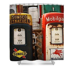 Old Fuel Pumps Shower Curtain