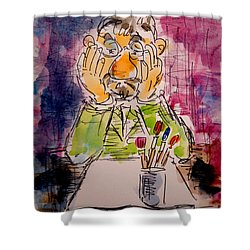 Shower Curtain featuring the painting Old Geezer Grappling With A White Sheet Of Paper by Alfred Motzer