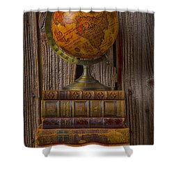Old Globe On Old Books Shower Curtain by Garry Gay