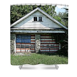 Old Glory Garage  Shower Curtain by Richard Reeve