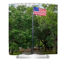 Shower Curtain featuring the photograph Old Glory High And Proud by Sennie Pierson