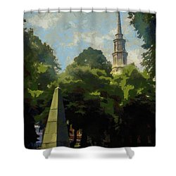 Shower Curtain featuring the painting Old Granery Burying Ground by Jeff Kolker