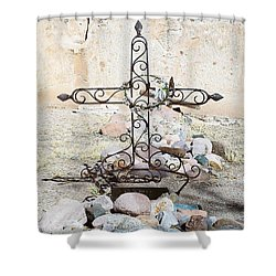 Shower Curtain featuring the photograph Old Gravestone Marker by Kerri Mortenson
