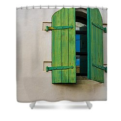 Old Green Shuttered Window Shower Curtain