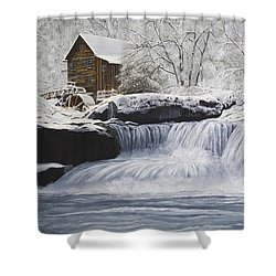 Old Grist Mill Shower Curtain by Johanna Lerwick