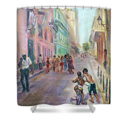 Old Havana Street Life - Sale - Large Scenic Cityscape Painting Shower Curtain