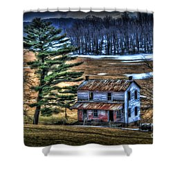 Old Home Place Beside Pine Tree Shower Curtain by Dan Friend
