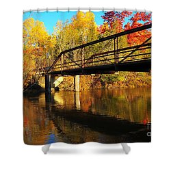 Shower Curtain featuring the photograph Historic Harvey Bridge Over Manistee River In Wexford County Michigan by Terri Gostola