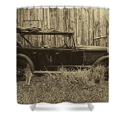 Old Jalopy Behind The Barn Shower Curtain by Thomas Woolworth