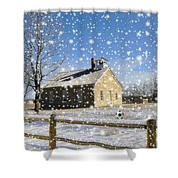Shower Curtain featuring the photograph Old Kansas Schoolhouse by Liane Wright