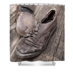 Old Leather Shoes On Wooden Floor Shower Curtain by Edward Fielding