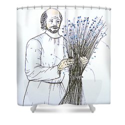 Old Man And Flax Shower Curtain