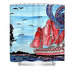 Old Man And The Sea Shower Curtain by Connie Valasco