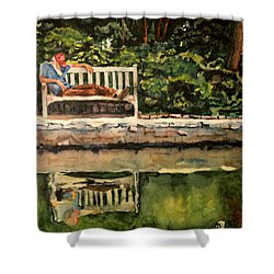 Old Man On A Bench Shower Curtain